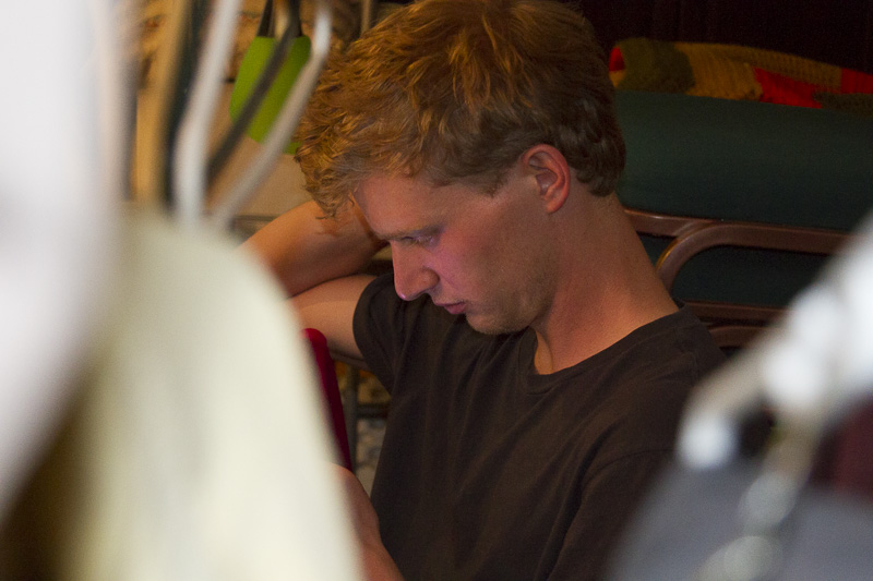 Ben (stagehand) contemplates his backstage duties.