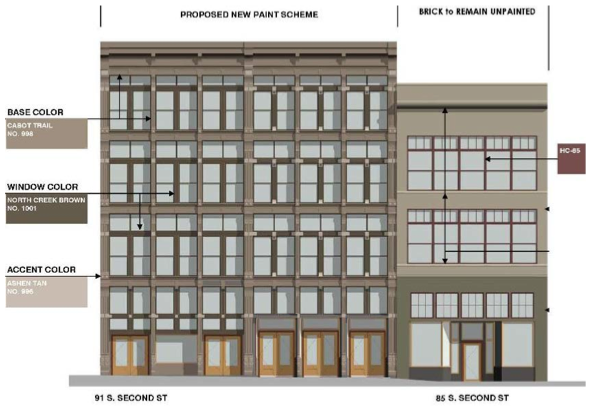 Rendering of South Second's Exterior Facade