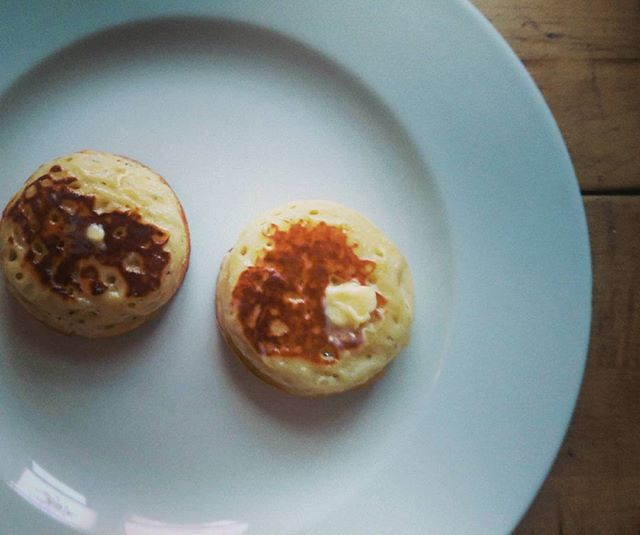 The finished article. First batch of buttermilk crumpets. Butter only needed #tw
