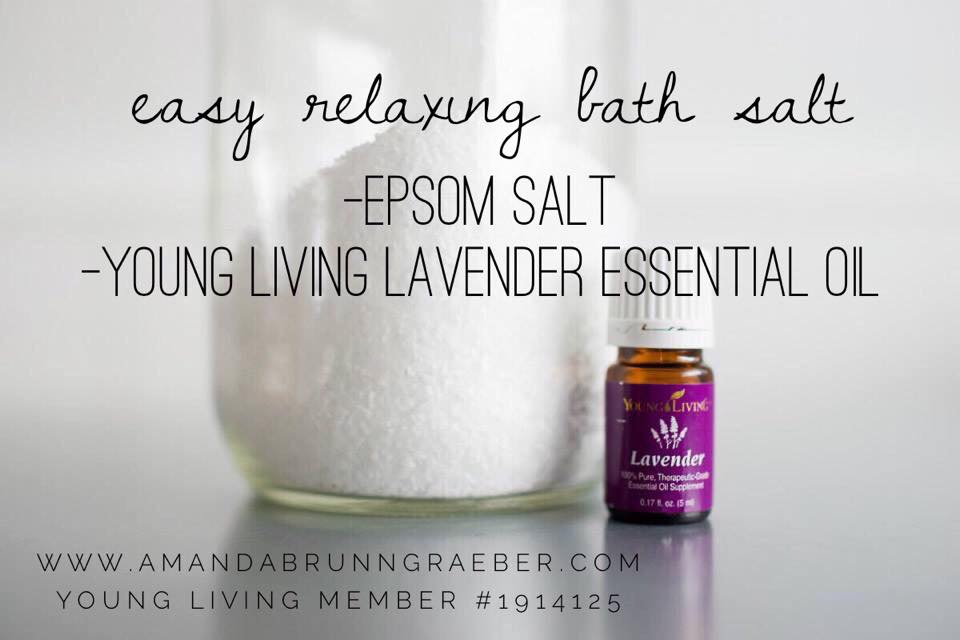 Young Living Essential Oil Lavender Bath Salt  This is a super easy recipe. Just epsom salt and lavender young living essential oil