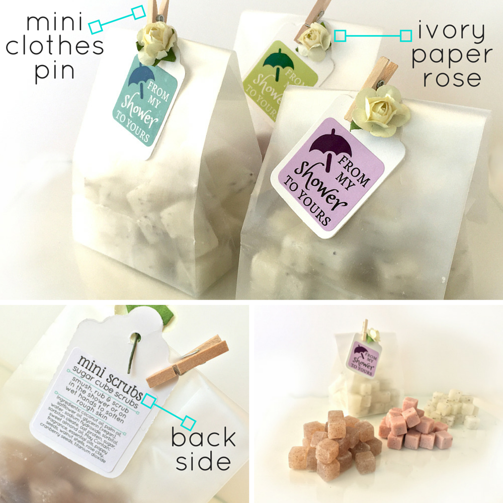 Bridal or Baby Shower Favors - Mini Sugar Scrub Cubes in Gift Bag ...