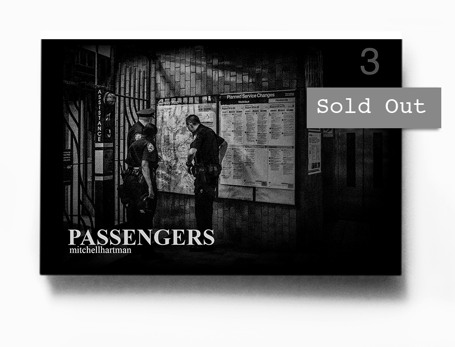 PASSENGERS 3     1  2 pages, 4x6 inches zine,  digitally printed on newsprint paper, covers made from archival Hahnemuehle matte paper, handmade, each page a digital print. $25.                                                Signed & numbered to 30    , Spring 2015