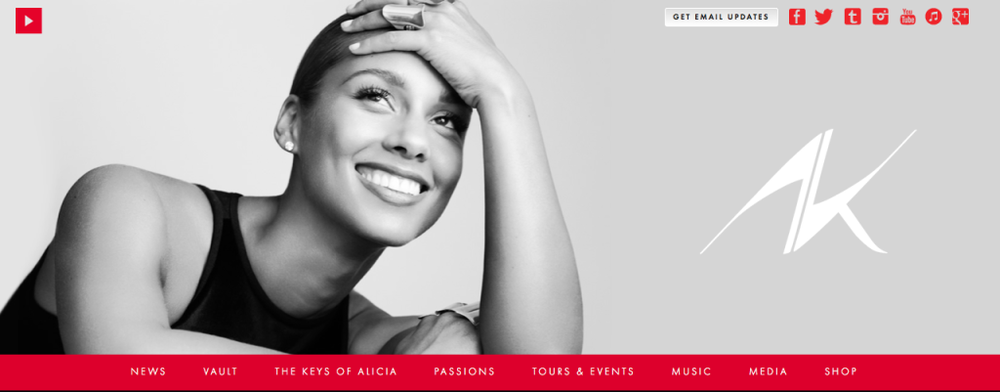 Alicia Keys website_Screen Shot