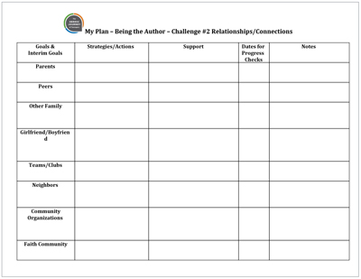 Click to download  My Plan: Relationships  Template