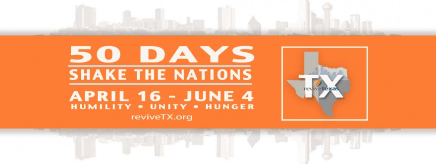 For 50 Days, more than 375 churches are coming together to transform the Metroplex with the Gospel. Monday through Thursday, April 16 - June 4, believers will gather simultaneously at a variety of local host churches in different regions across the Metroplex. Believers will be equipped and then sent out to pray for people, share the Gospel, and make disciples in their own neighborhoods across Dallas-Fort Worth. The 50 days of continual equipping and evangelism will start after Easter, April 16 - June 4.