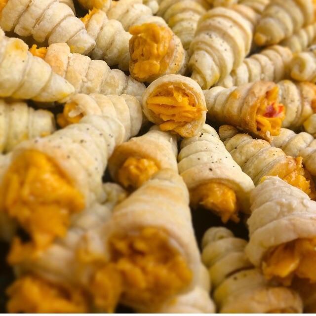 the square catering pimento cheese puff pastry cornucopia .jpg