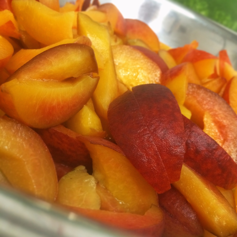 Fresh sliced sweet Georgia Peaches.