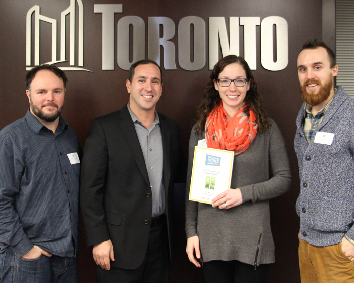 Matthew Blackett (Spacing Magazine), Josh Matlow (Toronto City Councillor), Sherri Tait (Manager, Waste Management, City of Hamilton), Jay Wall (Design Partner)