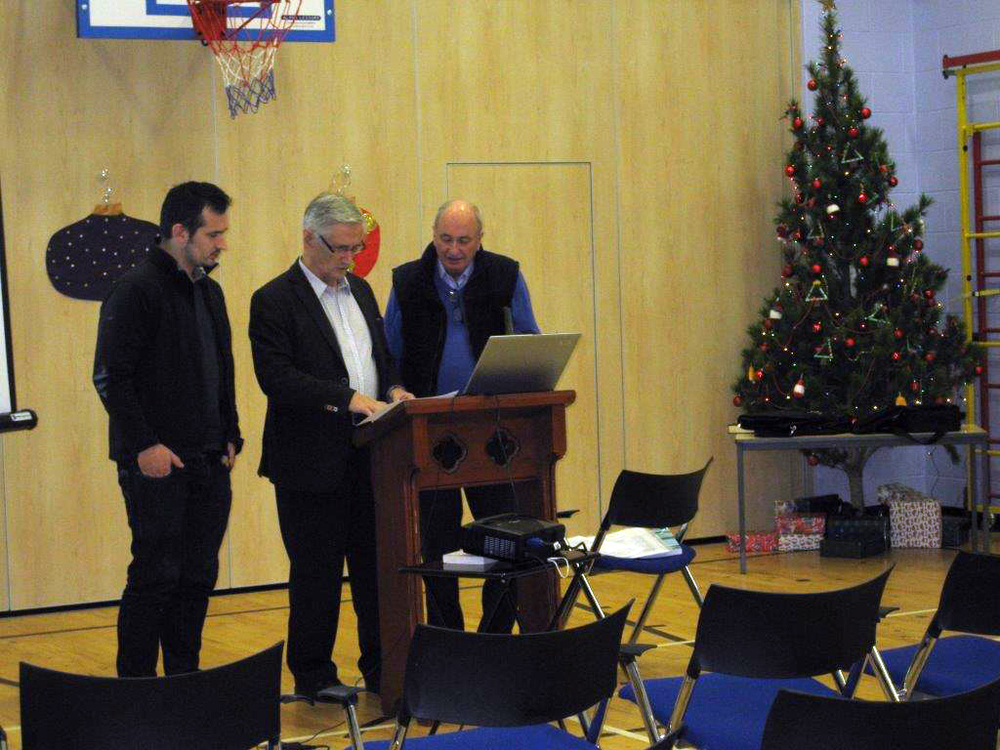 Preparing for the talk: D.N. Macleod, D.J. Macleod & Murdo Campbell