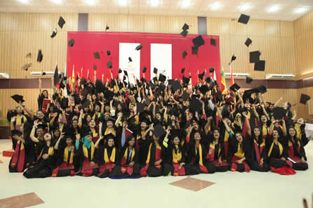 On May 18, 2013, the Asian University for Women graduated its first class of 134 undergraduates.