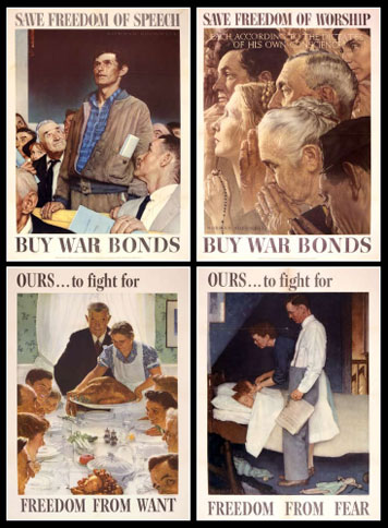 Illustrator Norman Rockwell created these posters of the Four Freedoms to raise funds for the war effort.  He not only succeeded but also provided decades worth of understanding and support for the package of freedoms that found its way into the International Bill of Rights.