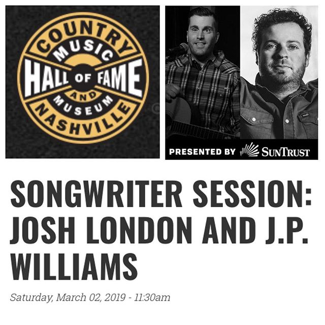 """I'll be trading tunes with my """"Best Shot"""" co-writer @joshua_london tomorrow at @officialcmhof's Songwriter Session. If you're downtown in #Nashville at 11:30, come out, listen, and tour the Hall! Details here: http://bit.ly/2HamGek"""