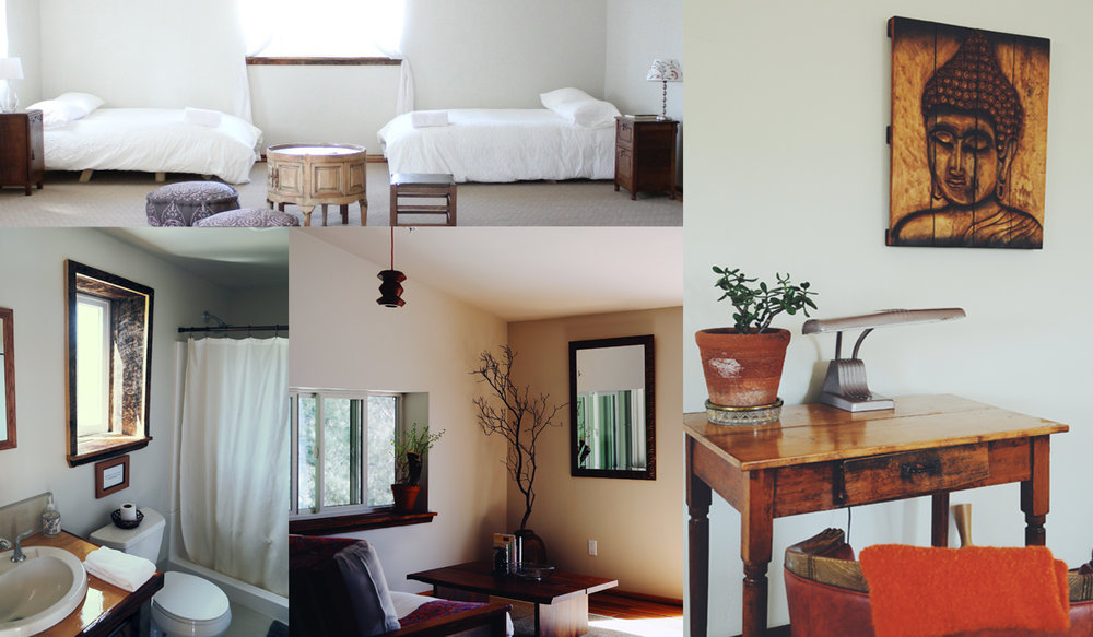 A collage of photos showing the Communal room, its full size beds, bathroom, and a small desk for writing or drawing.