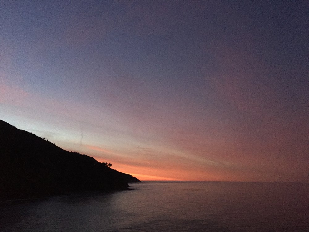 Sunrise my first morning at Esalen Institute.