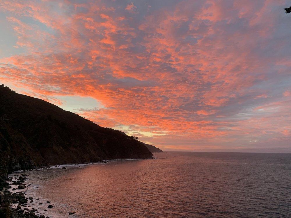 A breath-taking sunrise at Esalen in Big Sur.