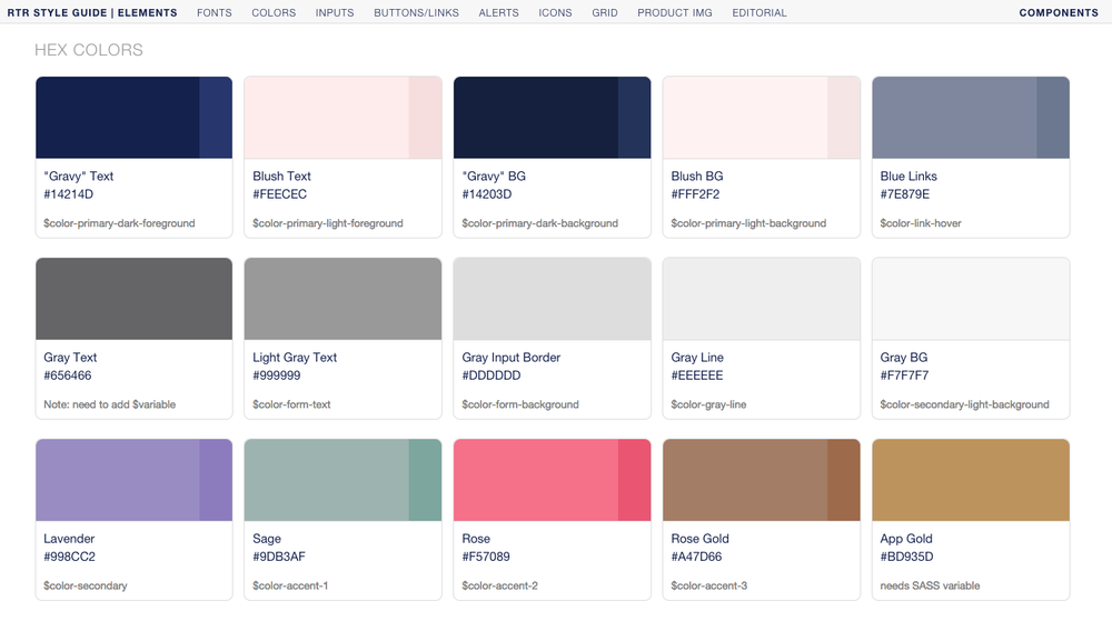 Swatches, names, hex codes, and SASS variables live together in our style guide