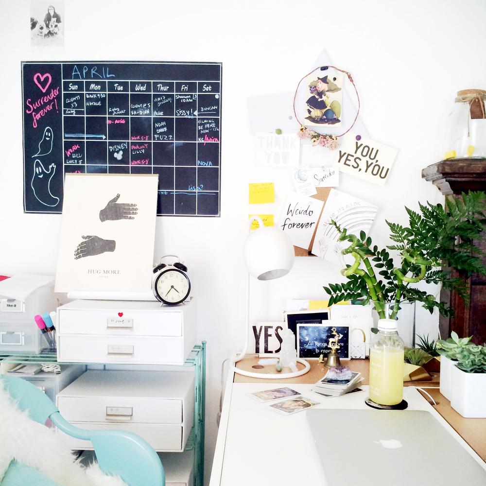 Louise's desk in her Los Feliz apartment