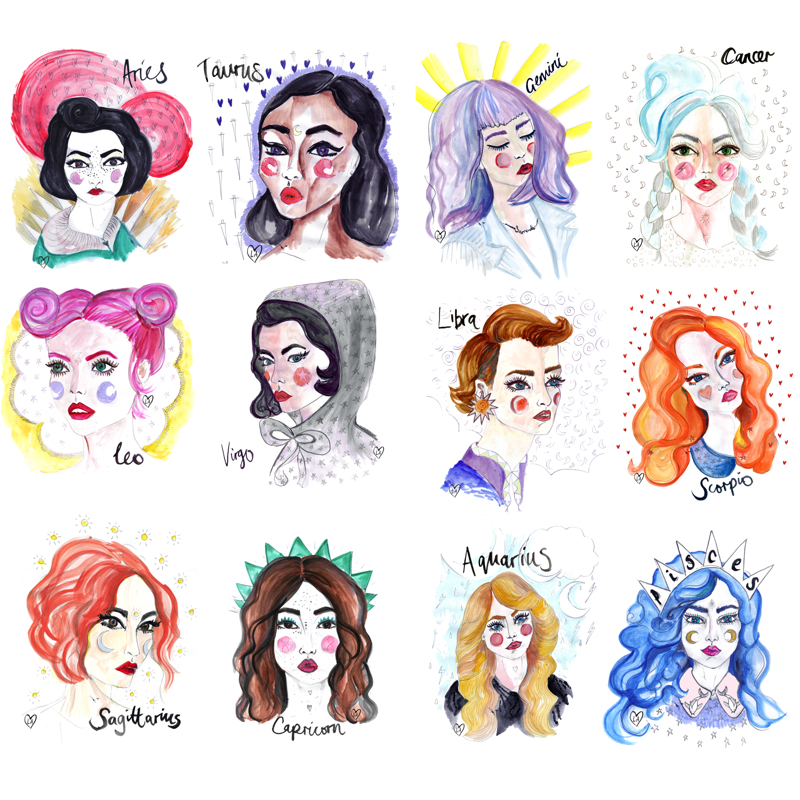 Louise's Astro Girl Zodiac series ( prints available )
