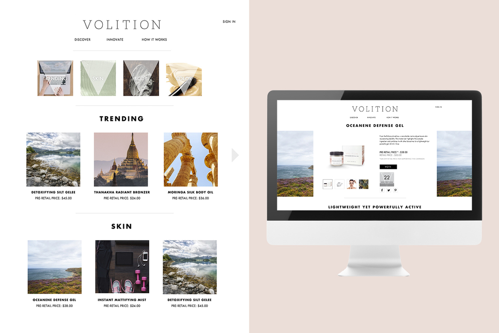 All design elements, e.g. colors, fonts, icons, and imagery help communicate the tone and visual identity behind the brand. (www.volitionbeauty.com)