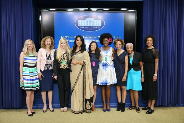 Erin Bagwell, third from left and Komal Minhas, fourth from left at the White House screening.
