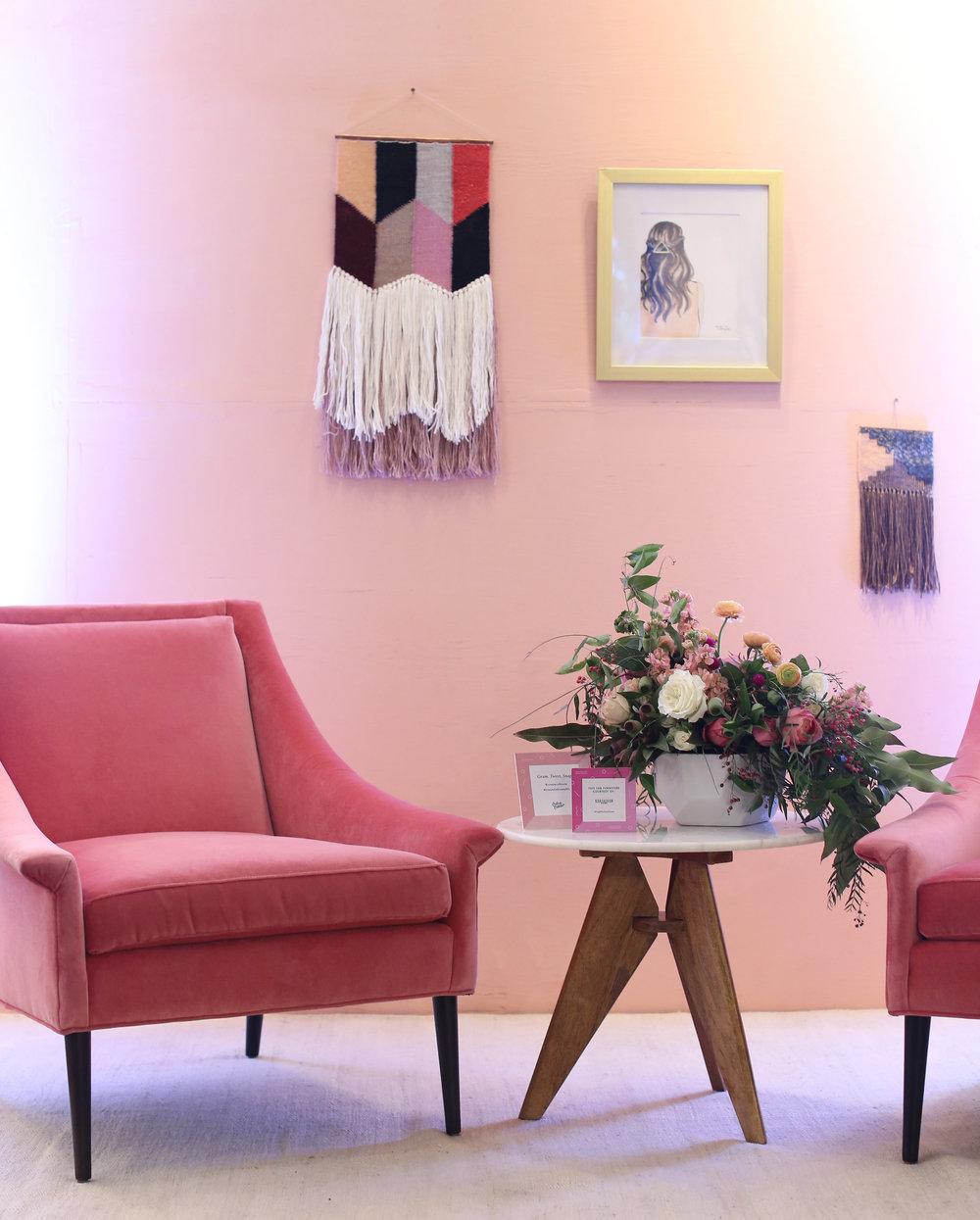 Furniture courtesy of  High Fashion Home , macrame courtesy of  Wabi Sabi Textile Co .