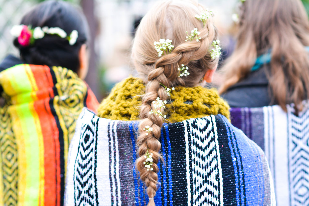 It might have been cold, but nothing a little blanket and floral braid couldn't fix.  Photo credit:  Chelsea Francis