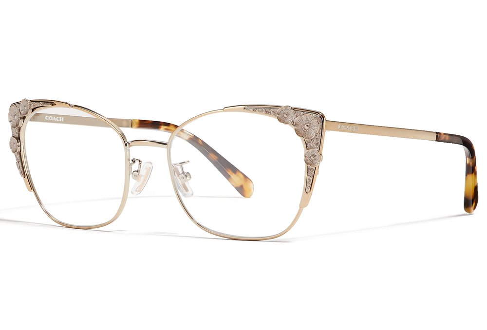 9283e78638 We re gonna Coach you for a sec on fashion frames. The detailing on this Coach  frame is spec-tacular. We re loving the gold and tortoise combo