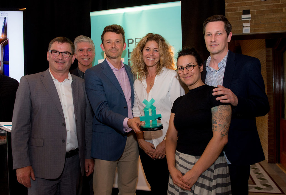"From left to right, Claude Paquin, editor of ""Formes"" Magazine, Maurizio Furno, Guidehabitation.ca, Marc-André Roy, president of Sotramont, Stéphanie Cardinal, president of Huma Design, et Sarah Paradis et Martin Pigeon, designers, Huma Design."