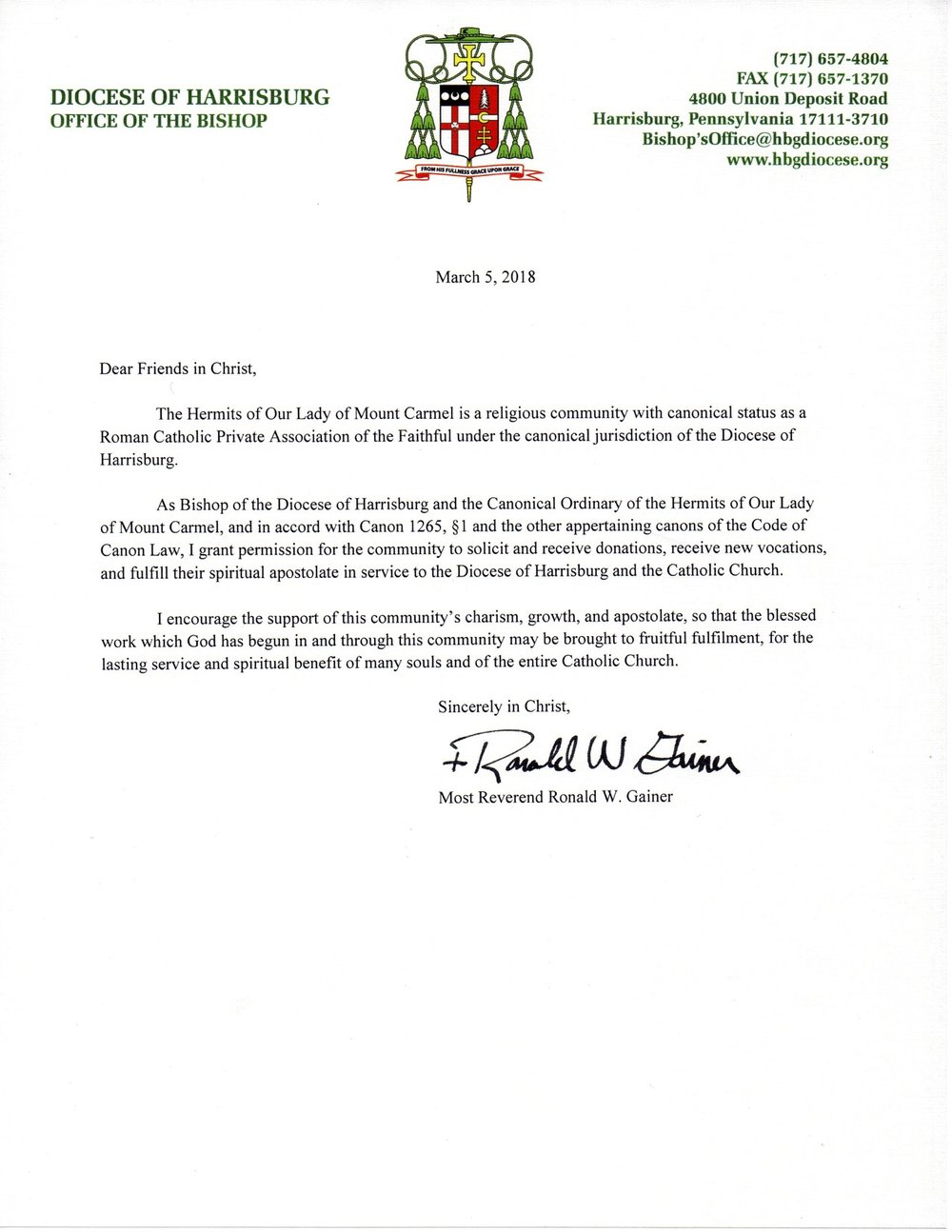 Bishop Ronald Gainer Letter of Support.jpg
