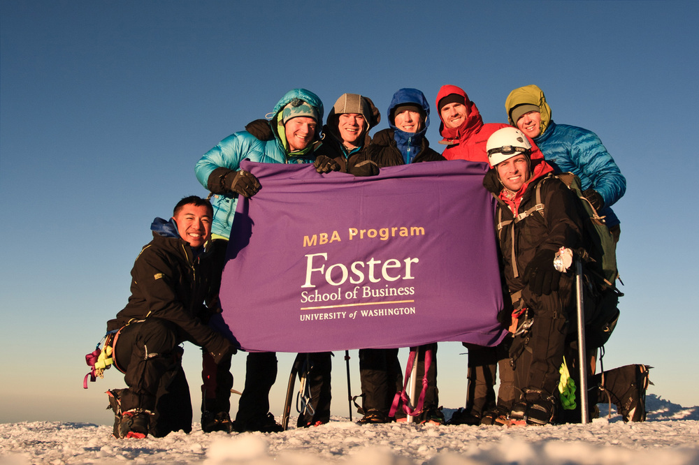 UPDATE JUNE 6, 2016: The Foster MBA team successfully summited! Thank you to everyone who donated and put in the hours to help us raise over $4,000 for charity! Climbers from left to right: Nelson Tang, Jason Matta, Morgan Connelly, Chris Burd, Andrew Rieck, Travis Vaughan, Joe Dennis (not pictured: Anna Bacheller)