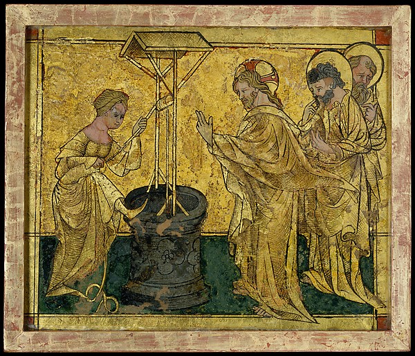 Jesus and the Samaritan Woman at the Well,c. 1420. Gold leaf, paint, and etching on glass. The Metropolitan Museum of Art.