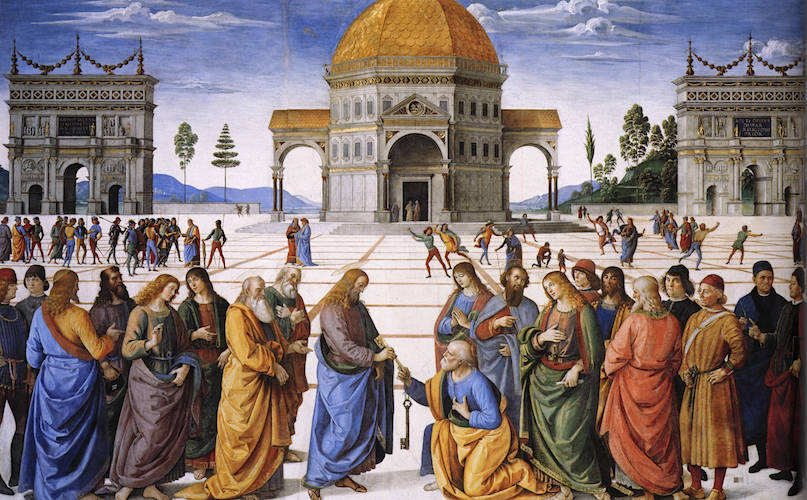 Perugino,Christ Giving the Keys of the Kingdom to St. Peter,Sistine Chapel, 1481-83