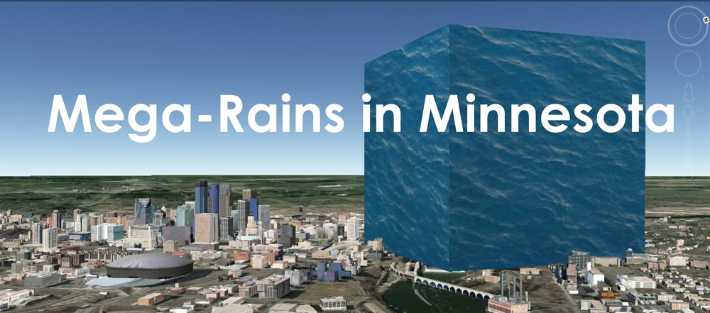 """The DNR climate office has assembled a list of so-called ""Mega-rain"" events that have occurred since statehood. These are events where a six-inch area covers more than 1000 square miles and the core of the event topped eight inches. Using newspaper accounts, diaries, and the historical climate record, twelve such events in Minnesota's post-settlement history have been identified. Of particular note is that five of those twelve events have occurred since 2000."" Minnesota DNRAccording to this MNDNR definition of a Mega-Rain event, each of these storms has dropped a minimum of 13,900,000,000 cubic feet of water.  That is a volume of water that would fill a cube that is nearly ½ mile on each side - shown here in comparison to downtown Minneapolis."