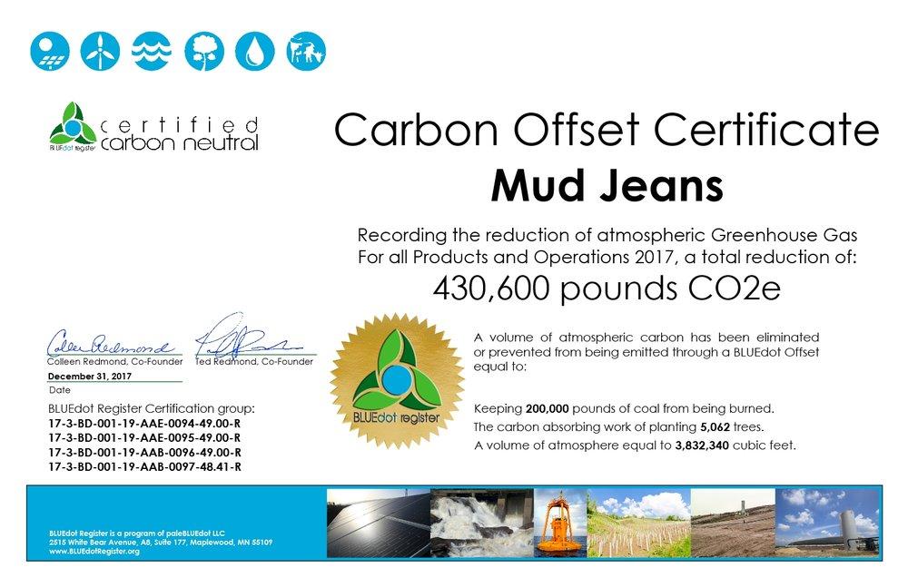 MUD Jeans 2017 Certificate