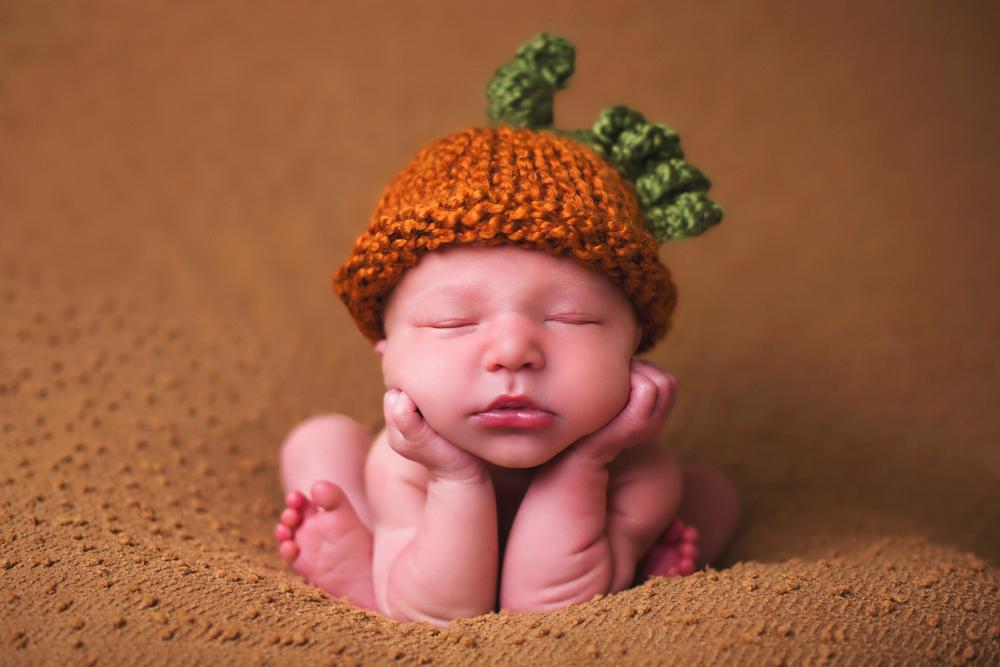 pumpkin hat baby photo