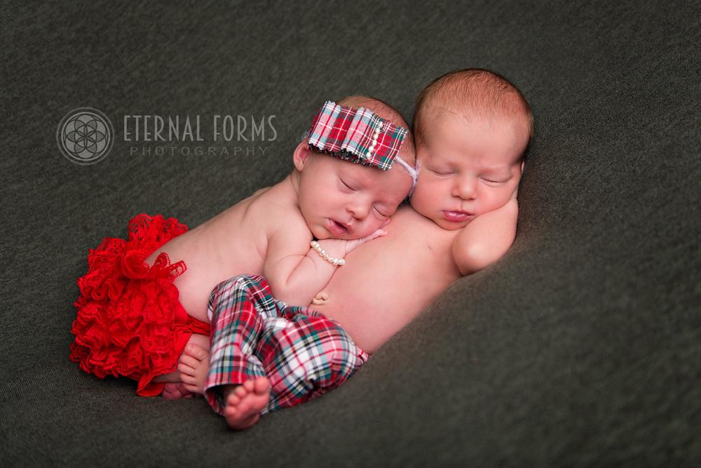 twin boy and girl newborn portraits