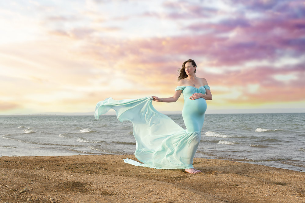 windswept maternity gown