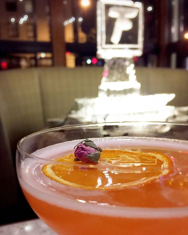 Grand Opening weekend here at the brand new @flemingssteakhouse in #pasadena ,Ca. It's been a long few weeks of training, but we made it! Tonight featuring the Rose City Cocktail - an inspired recipe we made for this location with Gin, aperol, lillet blanc, lemon, honey, and chamomile. It's gonna be a hit! #flemingspasadena #cocktails #gin #mixology #athirstcalledquest @thespiritsinmotion