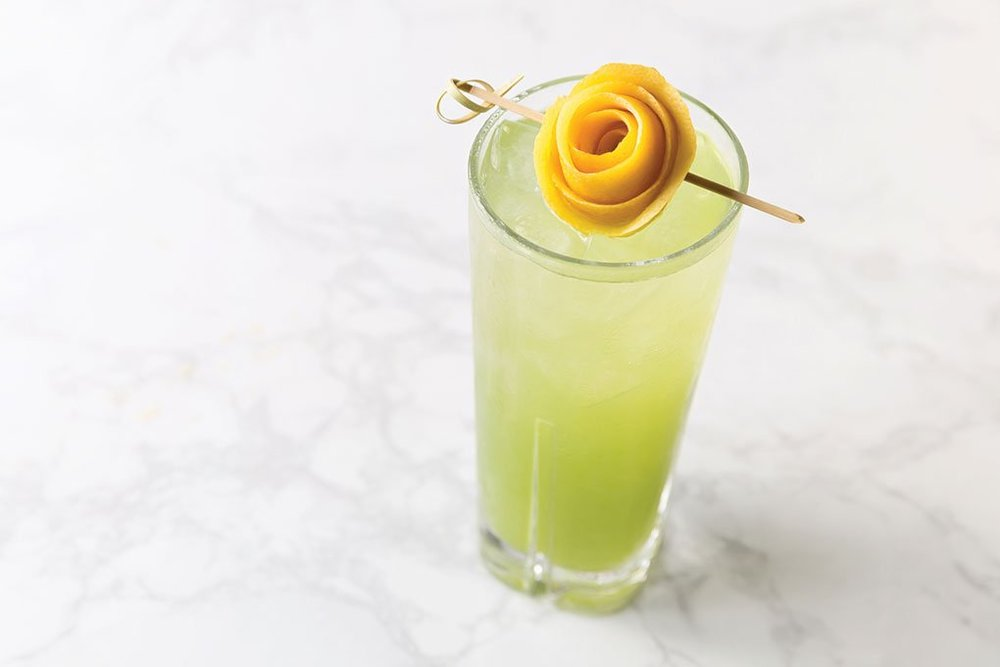 COLD-PRESSED KALE JUICE COUNTERS THE ALCOHOL IN THIS VODKA, SO...DUH AT JANE Q IN LOS ANGELES.    Photo Credit: K. Teig / Kimpton Hotel & Restaurant Group