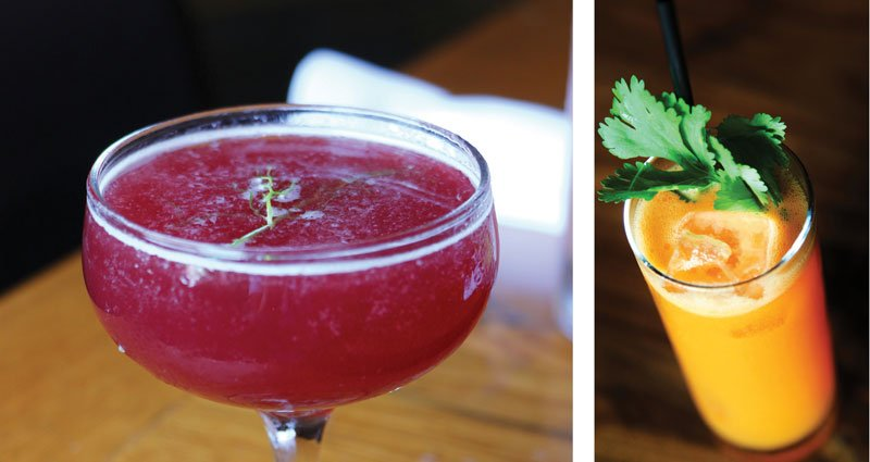 Spuntino Wine Bar & Italian Tapas and Cortney Cates   Turn Up the Beet at Spuntino Wine Bar in New Jersey boasts colorful, wholesome beet powder (left) and Carrot, ginger and cilantro up the wellness factor in this brunch drink at Beaker & Gray in Miami (right).