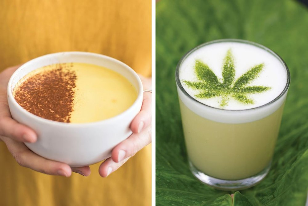 Emily Dorio (left) and Sonja Garnitschnig (right)   The Bowl of Soul in Nashville, Tenn., includes turmeric, cinnamon and MCT oil (left). Unabashed branding adorns the CBD-infused cocktail served at Plant Miami (right).