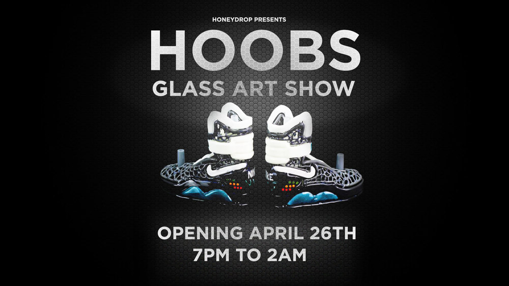 Flyer for the Hoobs Glass Art Show by Patrick Nissim