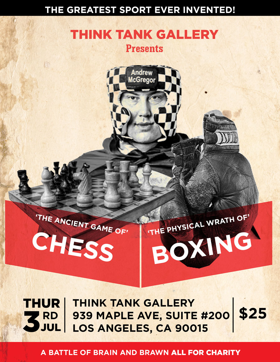 Flyer for a Chessboxing event the Think Tank by Patrick Nissim