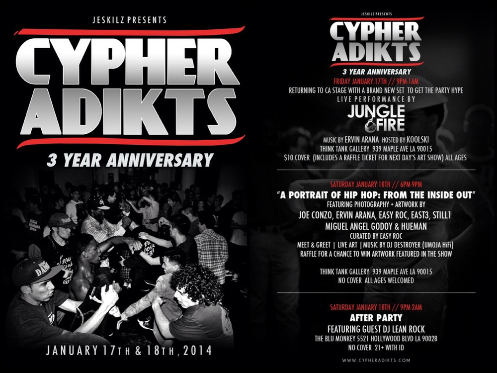 Flyer for Cyhper Adikts' 3 Year Anniversary at the Think Tank