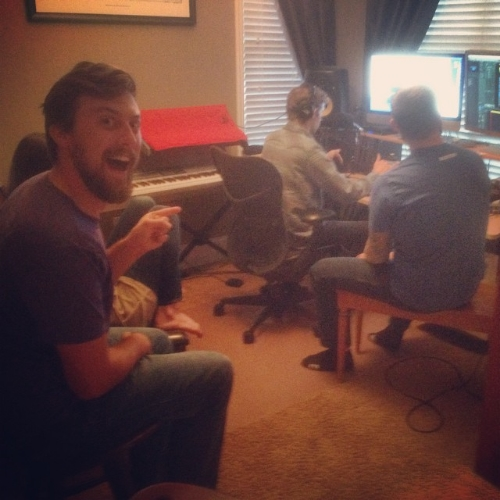 "Eric was very happy to team up with some of our favorite collaborators for the recording of ""The Money Song"" from our film  I Stole a Lot of Money! , which we made for the 2014 Four Points Film Project. From left to right: Eric, the foot of Emily King, Tyler Michaels, Reed Reimer."