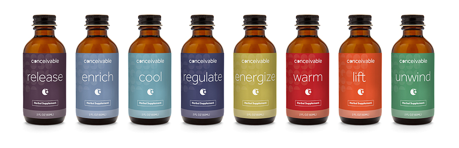 Conceivable's Herbal Supplement Subscription line–consumers are shipped custom combinations of herbs every month.