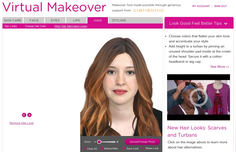 Look Good Feel Better Virtual Makeover Tool
