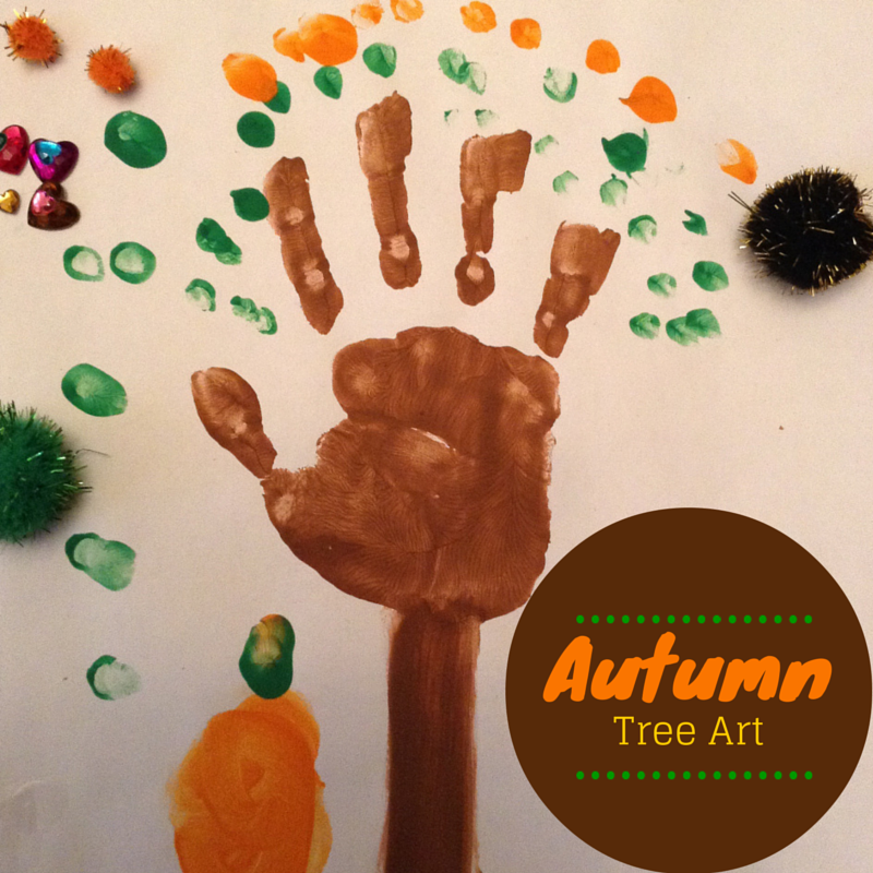 Creative Galaxy - inspired Autumn tree handprint craft.