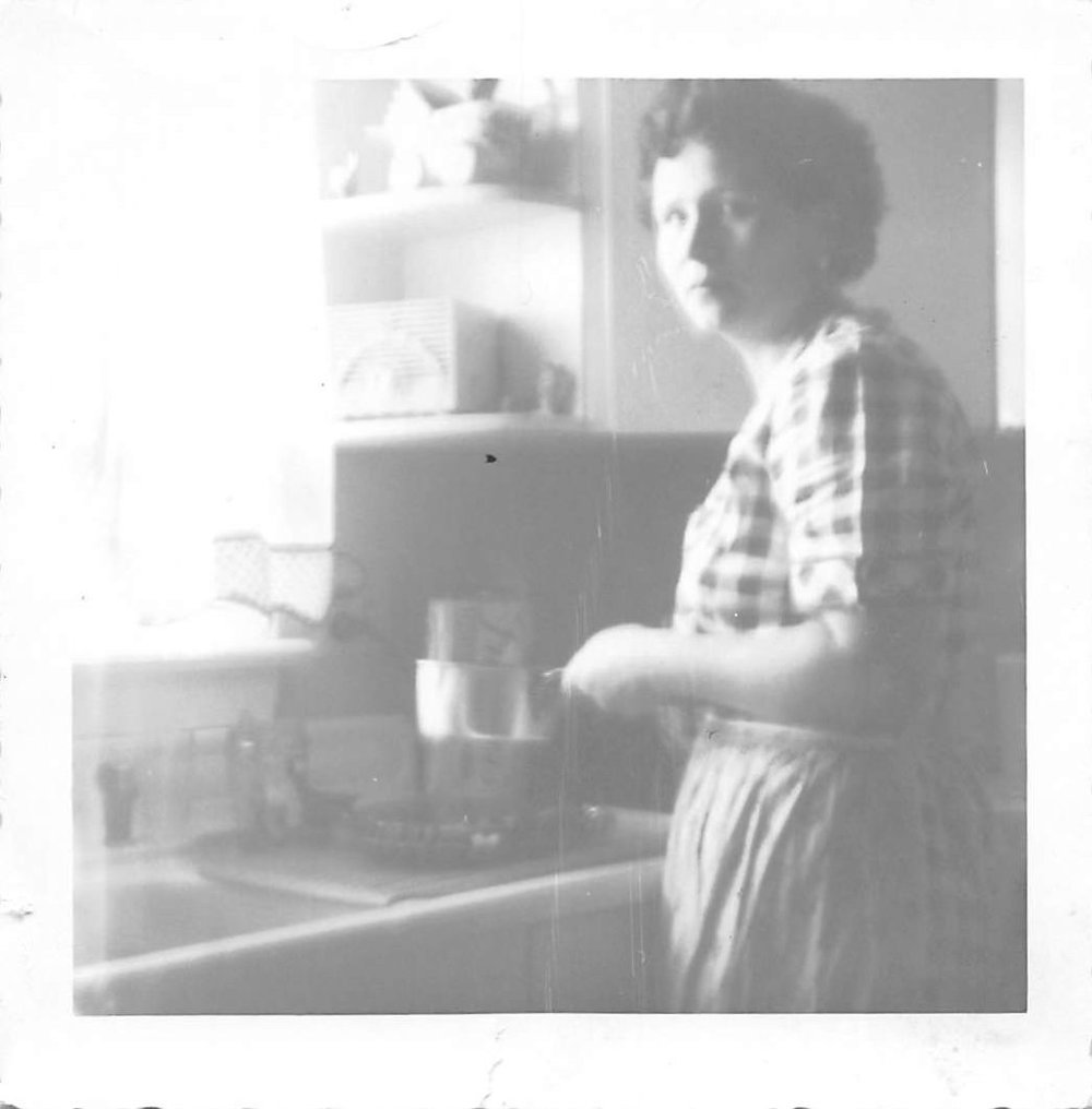 My Italian grandmother, Iris, at the kitchen sink
