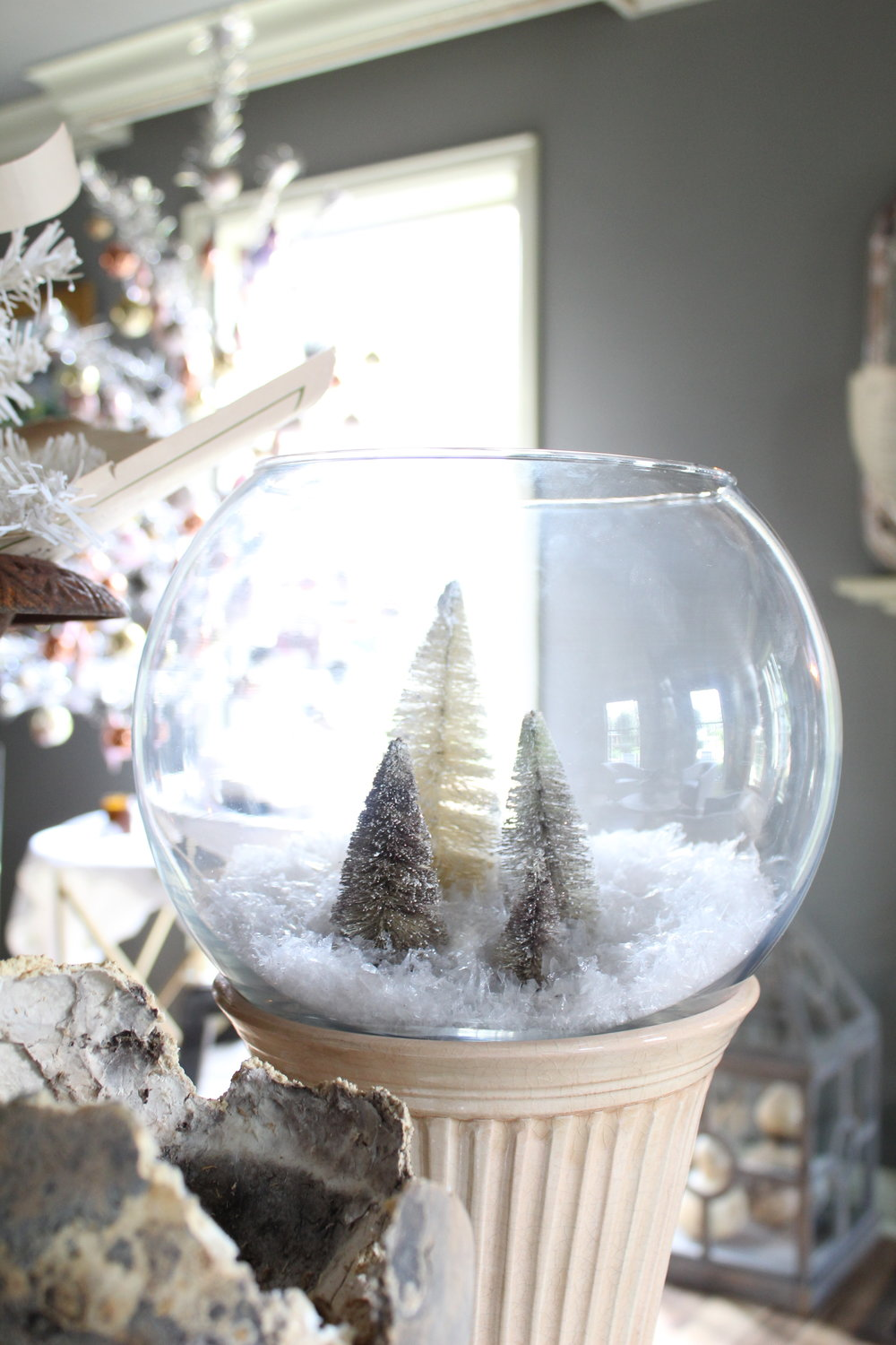 Let it snow… - Bleached bottle-brush tree snow globes